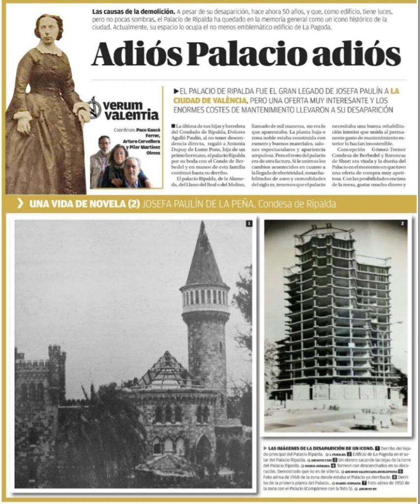 Verum Valentia: 21.- Condesa de Ripalda (2) Adiós Palacio, Adiós
