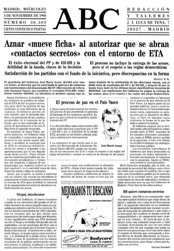 Resultado de imagen de aznar movimiento de liberacion vasco